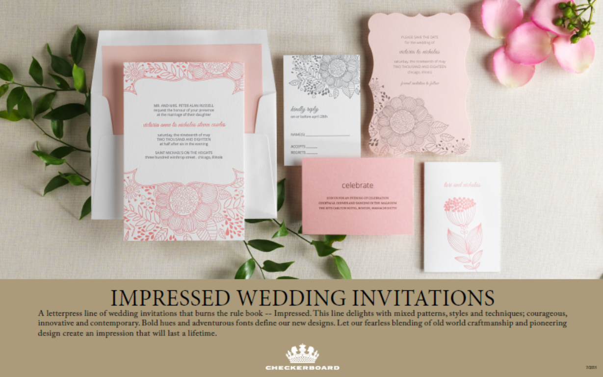 any of the images to be redirected to the corresponding online pdf catalog and click here for more information by email about any checkerboard products - Checkerboard Wedding Invitations